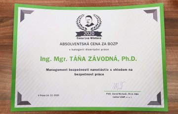 Ms Táňa Zavodná, Ph.D. from the Department of Genetic Toxicology and Epigenetics IEM CAS received the Lev Winter Award in the field of occupational safety and health