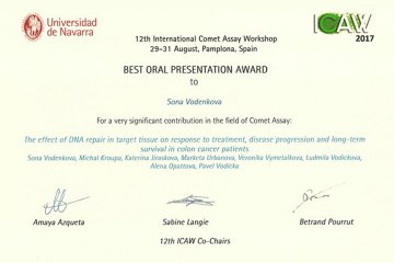 "Award for Best Lecture at the International Conference ""12th International Comet Assay Workshop"""